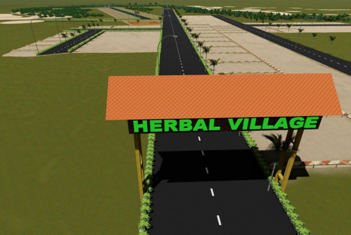 Herbal Village Entrance Arch 3D View- By GSS Projects Mysore