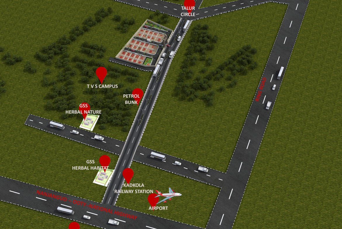 Herbal Sindhu Aerial 3D View Plots in Mysore by GSS Projects